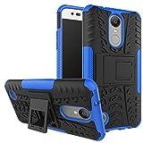 MOONCASE LG Aristo Coque, Double Couche d'Armure Lourde Case Hybride Anti-dérapante Absorbant Chocs Protection Étui avec Béquille pour LG Aristo(MS210) / LG K8 2017(M200) / LG LV3 Bleu Profond