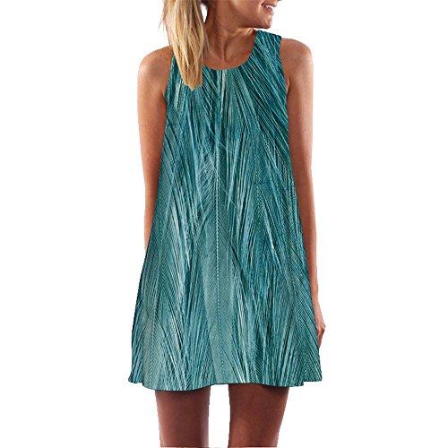 Frauen Lose Sommer Vintage ärmellose 3D Blumendruck Bohe Tank Short Mini Dress