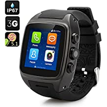 iMacwear SPARTA M7 Smart Watch Phone - IP67 Waterproof Rating, 1.54 Inch Touch Screen, Android 4.4 OS, Dual Core CPU, 3G (Black)