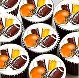 Topped Off 15 Vorgeschnitten American Football Rund Essbar Kuchen Dekoration
