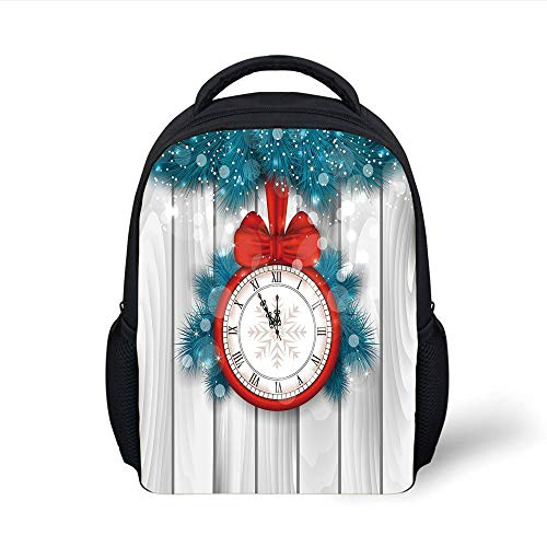 Red Fir, Red Lights (Kids School Backpack Clock Decor, Year Midnight A Clock and Fir Branch Illustration Decorations for Home,Red Light Grey Plain Bookbag Travel Daypack)