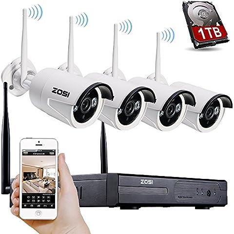 [Mejor que 720P] ZOSI 960P (1280x960) AUTO PAIR 4CH CCTV NVR KIT de Vigilancia Inalámbrica Sistema de Seguridad con 4pcs 1.3MP Cámaras Exterior / Interior Día / Noche, Vísion Nocturna 30M, Detección Movimiento, 1TB Disco duro, Código QR para IP Cámaras WIFI Free APP para Android / Iphone/ Ipad / PC