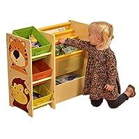 Liberty House Toys Jungle Magazine Shelf with 3 Non-Woven Bins, Small