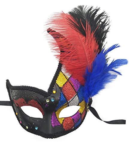 7f750a0130855a Coolwife Kostüm Maske Feder Maskerade Maske Halloween Karneval Cosplay  Partei Masque (Z geprüft)