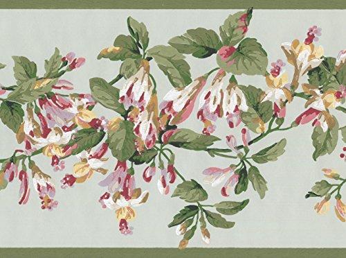 Weiß Rot Blumen auf Vine Salbei Grün Floral Tapete Bordüre Retro Design, Rolle 15'x 17,8cm -