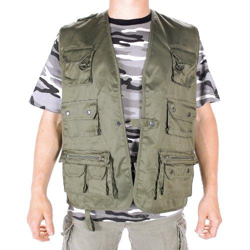 Mil-Tec Jagd- und Anglerweste mit 14 Taschen und Netzfunktion Outdoorweste viele Farben S-4XL NEU (S, (Wanderer Zombie Kostüm)