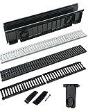 Abflussrinne mit Gitter, Material: ABS-Kunststoff, Farbe: Schwarz, erhältlich in vielen Größen