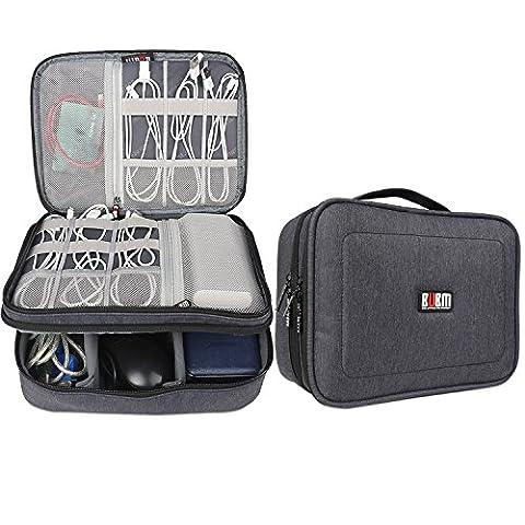 BUBM Mehrfachfunktion Kabelorganiser Tasche Reisetasche mit Doppelschichten für Elektronische Zubehöre wie Netzteil, Maus und USB Stricks(Groß,