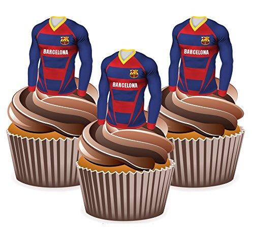 elona Fußball Trikots - Essbare Cupcake Aufleger / Kuchendekorationen (24Stück) (Halloween Cupcake Icing-dekorationen)