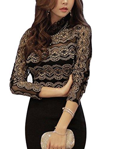 Femme Col festonné-Pull à manches longues en dentelle Noir