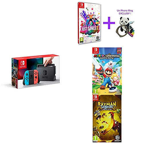 Pack Switch Néon + jeux Mario Lapins Crétins + Rayman + Just Dance 2019