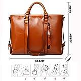 Designer Handbags for Women, Plouto Brown Leather Ladies Shoulder Bags Scatchel Large Tote Bags (Brown)