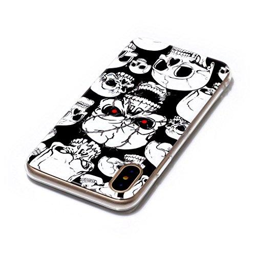 Apple iPhone X Hülle, SATURCASE Schönes Muster Leuchtend Fluoreszierend Ultra Dünn Weich TPU Gel Silikon Schützend Zurück Case Cover Handy Tasche Schutzhülle Handyhülle Hülle für Apple iPhone X (Muste Muster-3