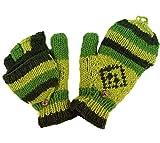 Guru-Shop Handschuhe, Klapphandschuhe Nepal, Herren/Damen, Grün, Wolle, Size:One Size, Handschuhe aus Wolle Alternative Bekleidung