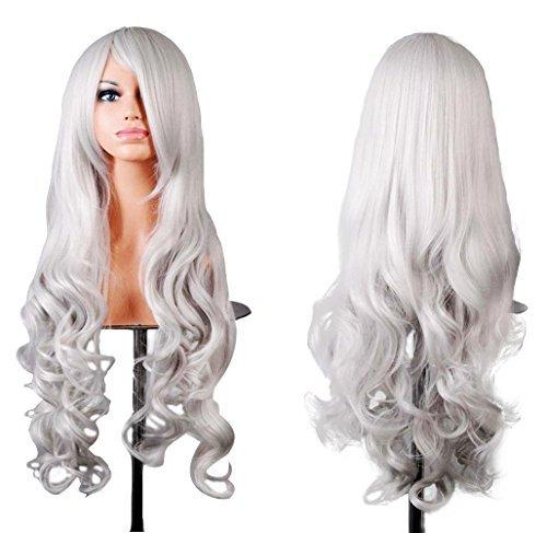 "Doramior ® 32 ""80cm Spiral Curly Cosplay Perücke (Weiß)"