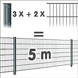 Zaun 5m: 2 Doppelstabmatten + 3 Pfosten 656, Oberfläche:verzinkt - ohne Farbe, Höhe:143cm