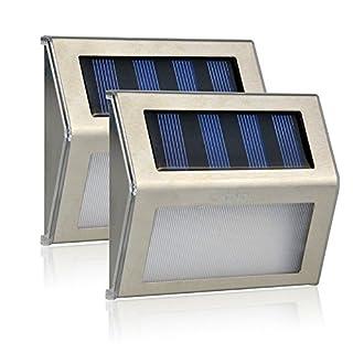 Aznoi 2X 3 LED Aluminium Treppenbeleuchtung, IP65 wasserdichte Solarleuchte mit bewegungsmelder für Treppen, Terrasse, Korridor, Schlaufe, Garten, Haus, Rasen, Außenwand usw.