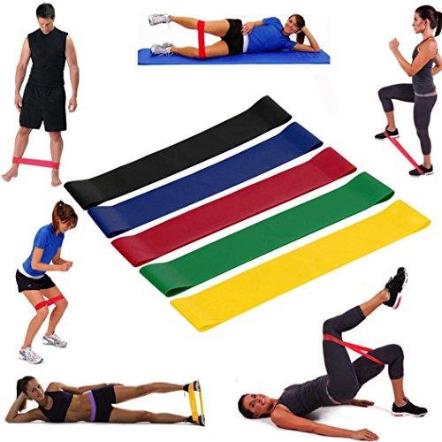 DOGZI Latex-Resistance Band Fitnessbänder Set 5-Stärken-Ideal für Muskelaufbau Physiotherapie Pilates Yoga Gymnastik-Home Übung Gym Loop Fitnessbänder