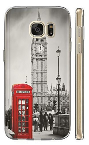 Samsung Galaxy S5 Mini Hülle Handyhülle Silikon Backcover Schutzhülle Soft Case Cover TPU mit Motiv 1103 London Big Ben England Rot Grau Samsung Galaxy S5 Mini (Samsung S5 London Galaxy Case)