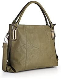 Women Handbags,Women Bag, Large Shoulder Bag Zipper Pocket KINGH Tote Bags PU Leather 009 Green
