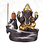 #7: Wasser India Crafted Lord Ganesha Smoke backflow Cone Incense Holder Decorative Piece with 10 nos Free Smoke Flow Scented Cone Incense