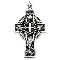 Sterling Silver anticato raso irlandese Ciondolo Croce