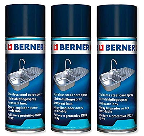 Berner 3 x Edelstahl-Pflege Spray INOX (3 x 400ml) *****3 x Speziall Reinigunger für Alles aus Edelstahl*****