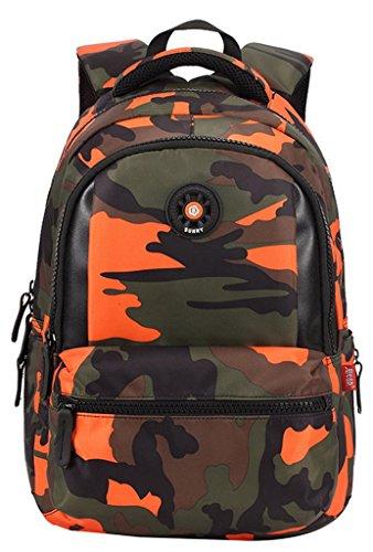 EOZY Cartable à Dos Enfant Camouflage Primaire Sac à Dos Scolaire Garçon Collège 31*14*44CM Orange