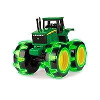 John Deere Monster Treads Lightning Wheels Tractor Toy | Light Up Monster Truck Toy with Neon Wheels | Green Toys for Children, Boys & Girls 3, 4, 5+ Year Olds