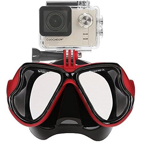 Aokon GoPro Hero4/hero3 +/3 SJ sesión mutli-function - Máscara de buceo gafas para buceo y Snorkeling (Rojo)