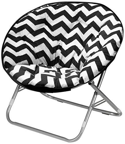 Plush Chevron Saucer Chair, Multiple Colors (Black)