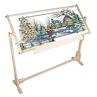 Cross Stitch Frame Stand, Adjustable Cross Stitch Floor Stand Wooden Embroidery Tapestry Hoops Stand (32 CT)