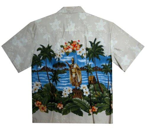 KY's | Original Hawaiihemd | Herren | S - 8XL | Kurzarm | Front-Tasche | Hawaii-Print | Statue Blumen Meer | Beige - LIMITIERT - Beige