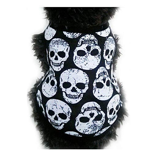 LLDE Hundemantel Sicherheitshosen Pet Frühling-Sommer-Weste Schwarz Knochen Weiß Knochen Teufel-Kopf Hund Kühle Kostüm Schädel-Muster-Kostüm-Kleidung Spring Vest Thin H1 Weich Generische