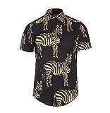 BOLAWOO Camisas Hombre Manga Corta Cuello Solapa Blusas Verano Hipster Vintage Hippies Moda Cebra Estampadas Camisa Tops