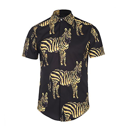 Camisas Hombre Manga Corta Cuello Solapa Blusas Verano Hipster Vintage Hippies Moda Cebra Estampadas Camisa Tops