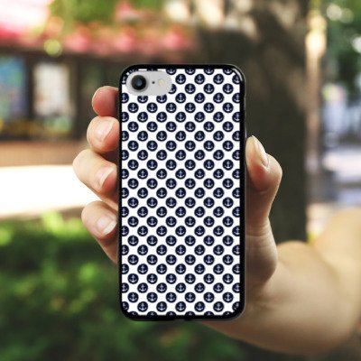 Apple iPhone X Silikon Hülle Case Schutzhülle Anker Muster Anchor Matrose Hard Case schwarz