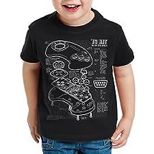 style3 Mega 16-Bit Contrôleur de jeu bleu T-Shirt pour enfants console de jeux sonic, Couleur:Noir;Taille:164