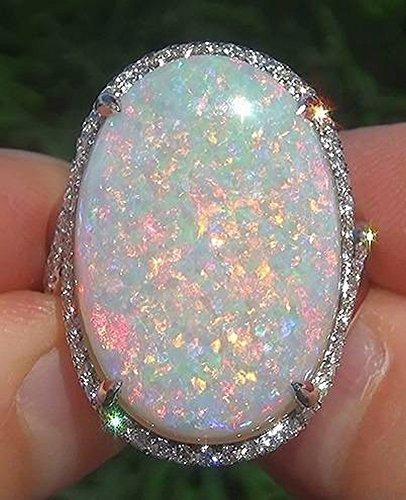 Thumby Fashion Opal Ring Opal Ring Schmuck Legierung Geometrisch Galvanisch Frauen Vergoldet Intarsien Künstlichen Edelstein/Halbedelstein, Opal, 10
