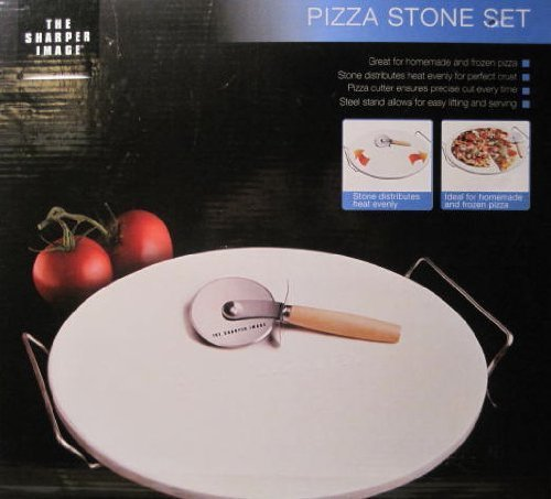 sharper-image-pizza-stone-set-13-inch-stone-cutter-stand-by-sharper-image