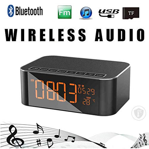Nourich Portable Alarm Clock with Temperature Display Radio BT4.2 Subwoofer Wireless Speaker for iPad, iPhone, iPod, smart Phone, latops