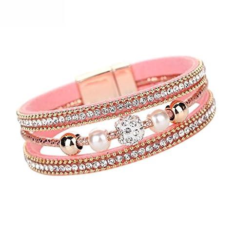 Women Bracelet, FEITONG Women Multilayer Bangle Bracelet Crystal Beaded Leather Magnetic Wristband (Pink)