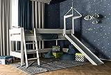 XXL Discount, Letto a soppalco per bambini, con scivolo, sponda anticaduta e scaletta, superficie del letto: 90 x 200 cm, 100% legno di faggio massiccio, colore bianco