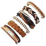 Pulseras de joyería brillantes, pulseras de moda y 6 pulseras de cuero sintético trenzadas para hombres y mujeres, estilo vintage