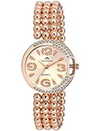 Swisstone L4018RG-SLV Silver Dial Rose Gold Bracelet Analog Wrist Watch For Women/Girls