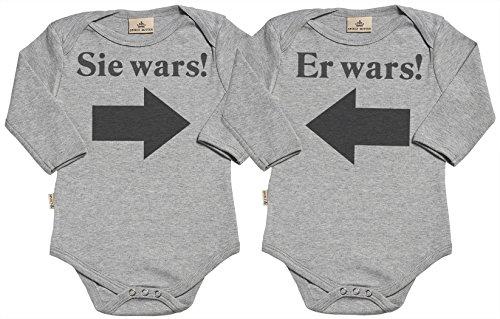 SR - Er Wars! Sie Wars! Baby Zwillinge Strampler - Strampelanzug - 100{fc72c84662d9f8e6b82abf18ab300b64df7d309a160e23c4bddbbb72e92bda93} ökologisch - Baby Zwillinge Geschenkset - in Milchtüte Geschenkbox - 0-6 Monate Grau
