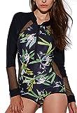 FITTOO Femme Maillot de Bain Imprimé Sexy Une Pièce Manches Longues Front Zip Crème Solaire plongée Push Up Amincissant Vêtement de Surf Bikini Noir S...