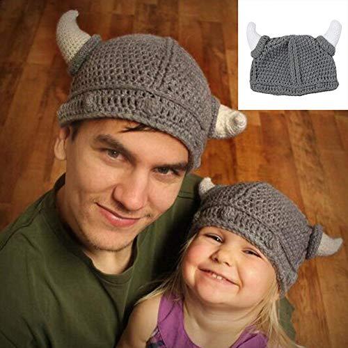 miss-an Baby Erwachsene Strickmütze Wolle Bull Horn häkeln Beanie Mütze handgemacht gestrickt