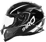 Shiro casco, Motegi BLACK-WHITE, tamaño L