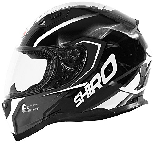 Shiro casco, Motegi BLACK-WHITE, tamaño L